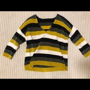 Express V-neck Striped Sweater Top